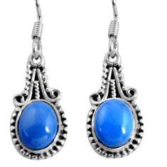 8.05cts natural blue owyhee opal 925 sterling silver dangle earrings d32454
