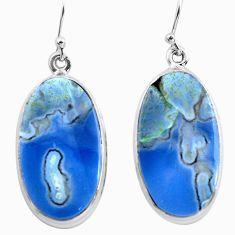 23.46cts natural blue owyhee opal 925 sterling silver dangle earrings p72766