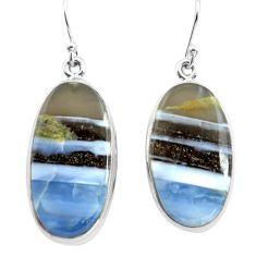 24.00cts natural blue owyhee opal 925 sterling silver dangle earrings p72780
