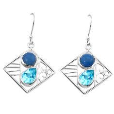 7.51cts natural blue owyhee opal topaz 925 silver dangle earrings jewelry p32505