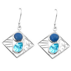 7.22cts natural blue owyhee opal topaz 925 silver dangle earrings jewelry p32506