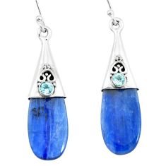 11.08cts natural blue owyhee opal topaz 925 silver dangle earrings p66445