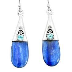 12.14cts natural blue owyhee opal topaz 925 silver dangle earrings p66446