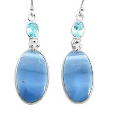 18.36cts natural blue owyhee opal topaz 925 silver dangle earrings p78561