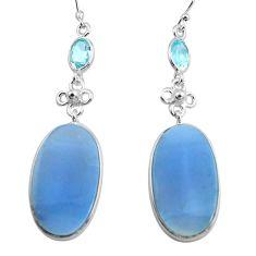 19.73cts natural blue owyhee opal topaz 925 silver dangle earrings p78562
