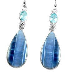 17.35cts natural blue owyhee opal topaz 925 silver dangle earrings p78563