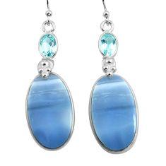 18.39cts natural blue owyhee opal topaz 925 silver dangle earrings p78565