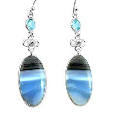 17.96cts natural blue owyhee opal topaz 925 silver dangle earrings p78566