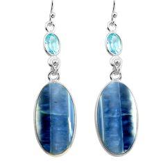 16.71cts natural blue owyhee opal topaz 925 silver dangle earrings p78568