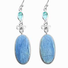 18.39cts natural blue owyhee opal topaz 925 silver dangle earrings p78569