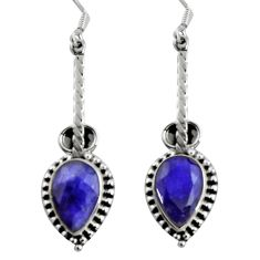 11.19cts natural blue sapphire 925 sterling silver dangle earrings d32428