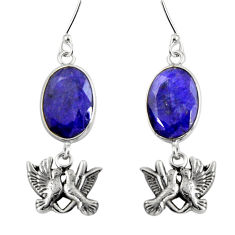 13.46cts natural blue sapphire 925 sterling silver love birds earrings d32398