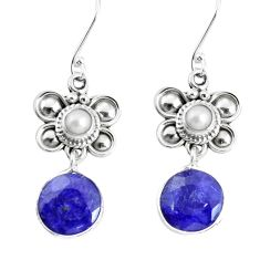 11.44cts natural blue sapphire pearl 925 sterling silver dangle earrings p58411