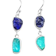 13.13cts natural blue sapphire rough apatite rough 925 silver earrings p73841
