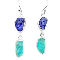 13.63cts natural blue sapphire rough apatite rough 925 silver earrings p73847