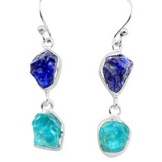 13.63cts natural blue sapphire rough apatite rough 925 silver earrings p73848