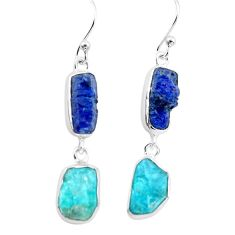 16.54cts natural blue sapphire rough apatite rough 925 silver earrings p73852