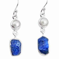 10.78cts natural blue sapphire rough pearl 925 silver dangle earrings p51821