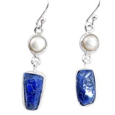 12.07cts natural blue sapphire rough pearl 925 silver dangle earrings p51823