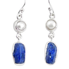 10.78cts natural blue sapphire rough pearl 925 silver dangle earrings p51826