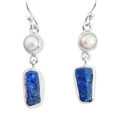 10.80cts natural blue sapphire rough pearl 925 silver dangle earrings p51827