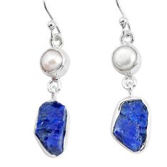 11.23cts natural blue sapphire rough pearl 925 silver dangle earrings p51830