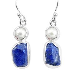 14.12cts natural blue sapphire rough pearl 925 silver dangle earrings p51831
