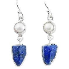 12.83cts natural blue sapphire rough pearl 925 silver dangle earrings p51833
