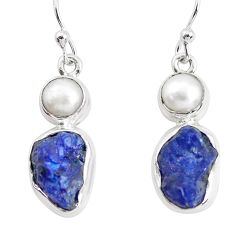 12.85cts natural blue sapphire rough pearl 925 silver dangle earrings p51834
