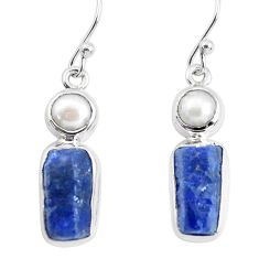 14.12cts natural blue sapphire rough pearl 925 silver dangle earrings p51835