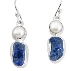 13.28cts natural blue sapphire rough pearl 925 silver dangle earrings p51837