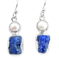 13.71cts natural blue sapphire rough pearl 925 silver dangle earrings p51838