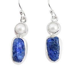 14.12cts natural blue sapphire rough pearl 925 silver dangle earrings p51840