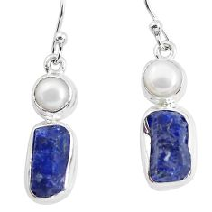 13.71cts natural blue sapphire rough pearl 925 silver dangle earrings p51846