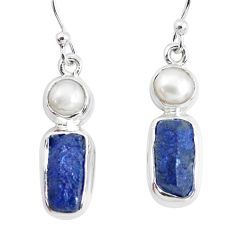 14.12cts natural blue sapphire rough pearl 925 silver dangle earrings p51847