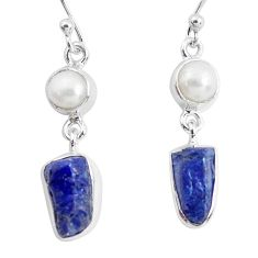 12.07cts natural blue sapphire rough pearl 925 silver dangle earrings p51849