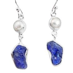12.83cts natural blue sapphire rough pearl 925 silver dangle earrings p51850