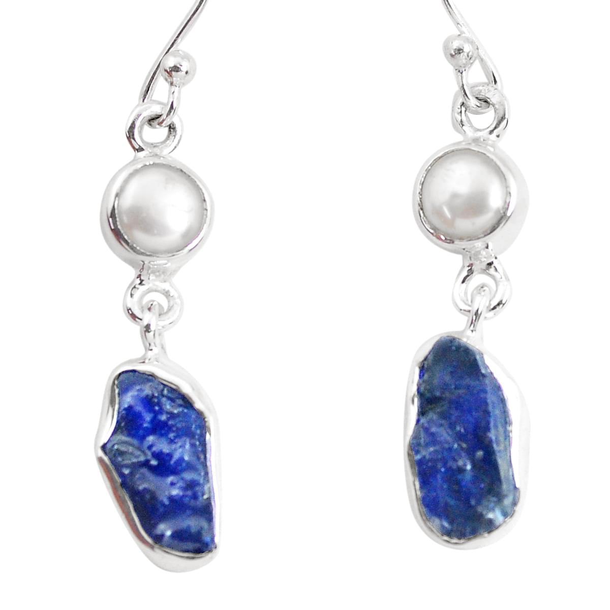 Sterling silver lapis lazuli dangle earrings dark blue raw rock stone jewelry