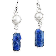13.26cts natural blue sapphire rough pearl 925 silver dangle earrings p51854