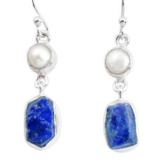 12.36cts natural blue sapphire rough pearl 925 silver dangle earrings p51855