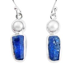 14.12cts natural blue sapphire rough pearl 925 silver dangle earrings p51858