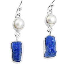 12.07cts natural blue sapphire rough pearl 925 silver dangle earrings p51859