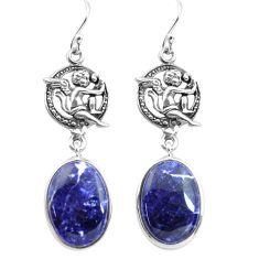 16.73cts natural blue sodalite 925 silver cupid angel wings earrings p72529