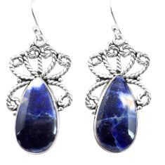 16.17cts natural blue sodalite 925 sterling silver dangle earrings p72601