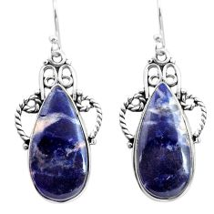 17.38cts natural blue sodalite 925 sterling silver dangle earrings p72603
