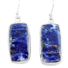 22.59cts natural blue sodalite 925 sterling silver dangle earrings p72789