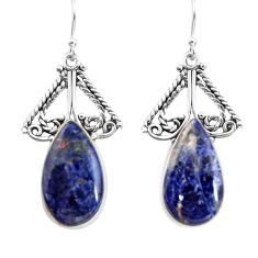 16.54cts natural blue sodalite 925 sterling silver dangle earrings p91957