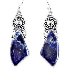 16.06cts natural blue sodalite 925 sterling silver dangle earrings p91958
