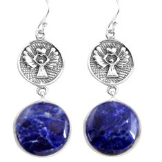 21.53cts natural blue sodalite 925 sterling silver eagle charm earrings p91811