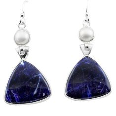 17.08cts natural blue sodalite pearl 925 sterling silver dangle earrings p88840